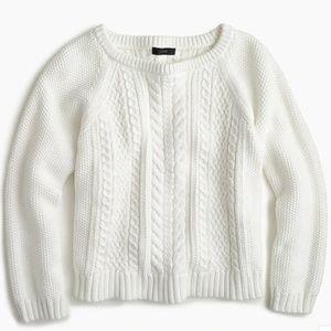 J Crew Cotton cable crewneck sweater